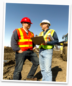 An image of two builders from Boss Construction on a building site.