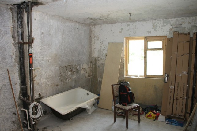An image of a bathroom undergoing a complete renovation.
